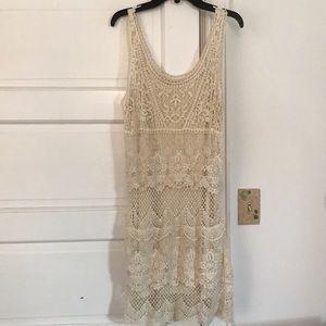 Cream dress with slip underneath